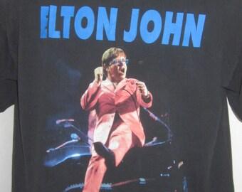Vintage ELTON JOHN Solo Concert T-Shirt-An Evening With Elton John Solo Tour-Starting Dates Black Cotton Shirt-Men's Size XL