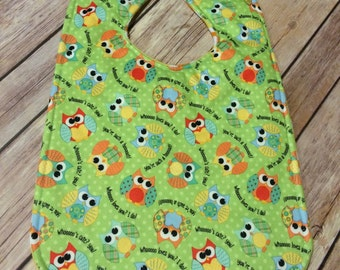 Owl Friends Waterproof Reversible Baby Bib, Owl Baby Bib, Reversible Owl Bib, Waterproof Baby Bib, Waterproof Bib,