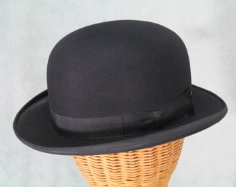 Mens Vintage Derby Hat Bowler Hat Holmes & Sons Size 7 1/8