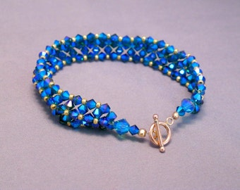Crystal blue and gold bracelet with toggle clasp