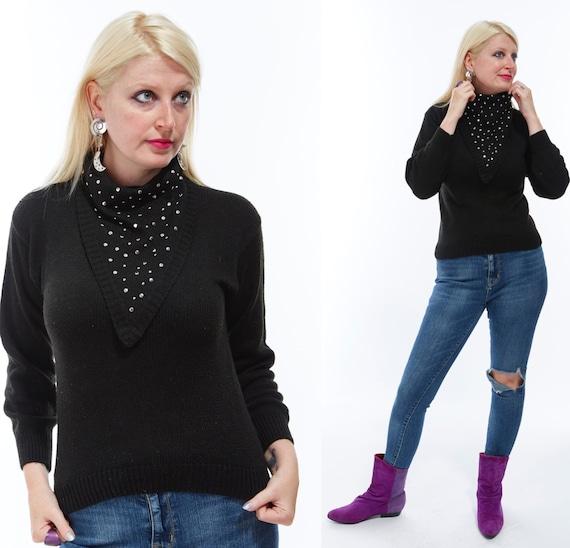 Vtg 80s Deadstock Rare BONNIE BOERER Designer Silver Studded Knit SWEATER Turtleneck Bling Goth Glam Boho Minimalist Avant Garde Kitsch xs/s