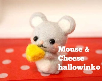 Kawaii Cute Little Mouse with Cheese doll Mascot & Free Tool - English DIY Wool Needle Felting Craft Kit