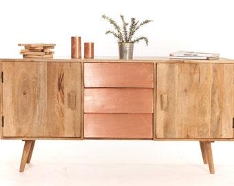 Scandinavian buffet wood and copper