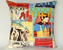 Fashion magazine cushion cover, modelling and fashion, gifts for fashion lovers, photo shoot fabric, modern fashion, gifts for teenage girls