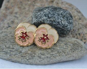 Vintage flower earrings, pansies, clip on