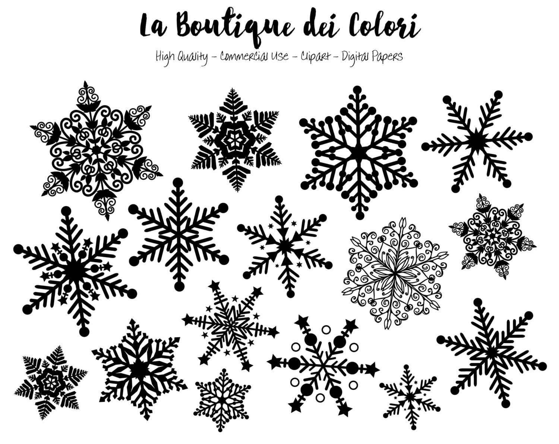 Snowflake clip art black and white