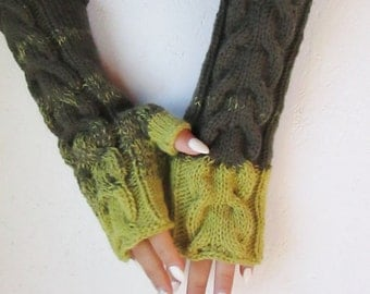 Fingerless gloves, Knitted green, dark green, mustard green Fingerless long fingerless with Cable, Woman   Arm Warmers, winter accessory