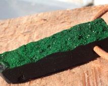Uvarovite Pendant drilled fŕeeform / natural green garnet druzy pendant / unique and rare gemstone