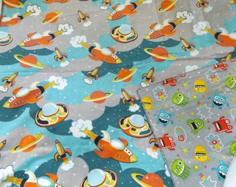 Spaceships and Aliens Flannel Receiving or Swaddling Blanket, Double Layer, 2 Layer Serged Blanket, New Design, Crib or Stroller Blanket