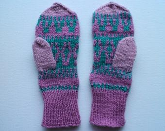Hand knit mittens