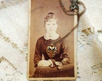 Filigree HEART Necklace-Romantic Dainty Gold Tone Heart-Token of Romance-Love-Keepsake Sweetheart Charm-Choker-Orphaned Treasure-082516D
