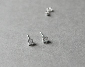Square CZ Stud Earrings 5mm - Sterling Silver