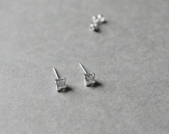 Square CZ stud earrings, CZ posts, Clear - 5mm