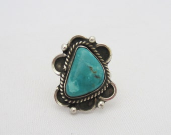 Vintage Southwestern Sterling Silver Turquoise Ring Size 6