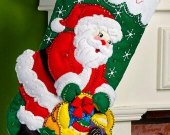"Bucilla ~ Santa and Scottie Dog ~ 18"" Felt Christmas Stocking Kit #86654 DIY"