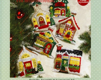 Bucilla Breitville ~ 6 Pce Felt Christmas Ornament Kit #86387 Engelbreit Village DIY