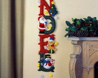 Bucilla NOEL ~ Felt Christmas Wall Hanging Kit #86539, Santa, Frosty, Teddy Bear DIY