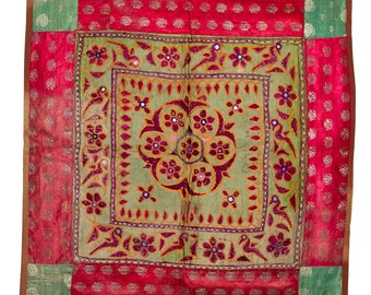 VINTAGE TEXTILE - Vintage Chakla on green silk with antique brocade border.