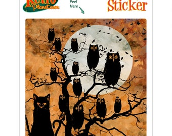 Owls and Cat All Hallows Eve Vinyl Sticker - #68357