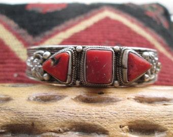 Vintage Ornate Coral and Sterling Silver Cuff Bracelet