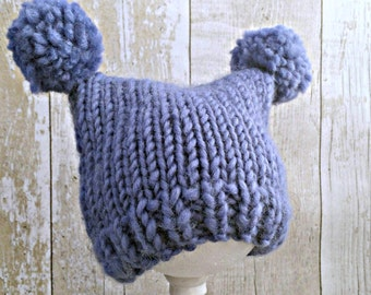 Baby Boy Hats, Knitted Baby Hat, Knit Pom Pom Hat, Baby Pom Pom Hat With Ears, Newborn Animal Hat, Newborn Boy Hat, Baby Shower Boy GIft