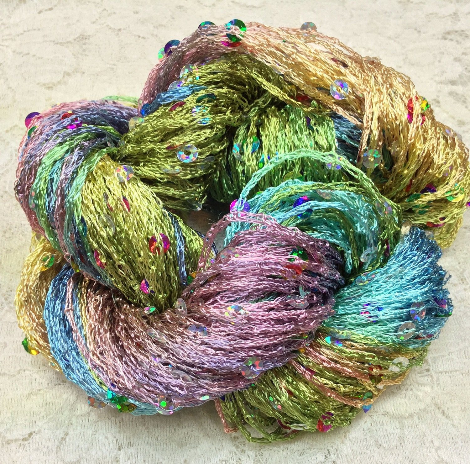 Hand dyed sequins rainbow holographic 75 yds by ...