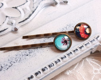 Hair accessory set of two hair pins Floral cabochon Nature inspired