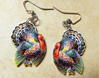 Handcrafted Vintage Style Turkey Dangle Earrings Perfect For Thanksgiving Gift Food Jewelry