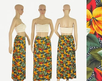 leaves print A line aline midi maxi skirt retro vintage 80s 1980s front button up closure orange green olive size womens MEDIUM