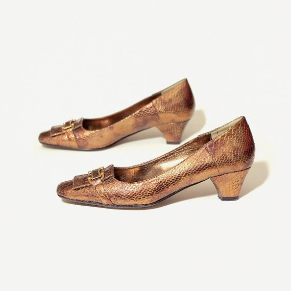 Bronze Low Heel Shoes