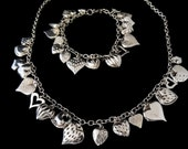 Sterling Silver Heart Charms Necklace Bracelet Set Victorian meets Modern Style