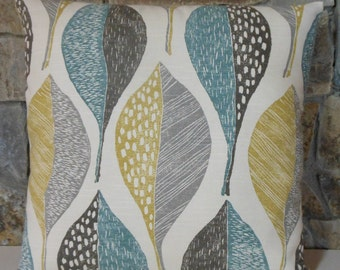 "Woodblock Leaf Pillow Cover//20"" Teal Citrine Grey Leaf Throw Pillow"