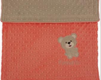 Personalized Baby Blanket-Teddy Bear Baby Minky Blanket- Custom Blanket-