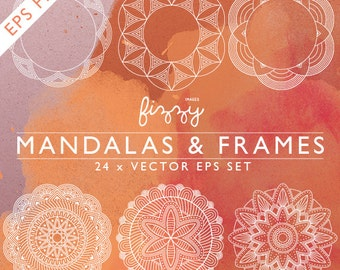 EPS: 24 x Mandala Indian inspired Spirograph illustrations frame border digital clipart in Vector EPS format. CA0063