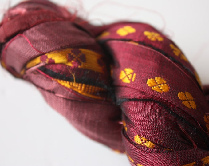 25% OFF SALE - Recycled Sari Silk Ribbon - Burgundy & Gold
