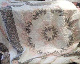 Beautiful 'Shabby Chic' French patchwork quilted throw for King Size Bed