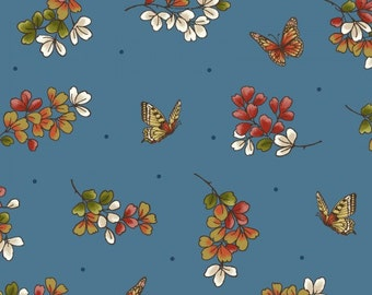 Japanese Garden Blue Print Fabric by Maywood Studio, 100% Premium Cotton by the Yard