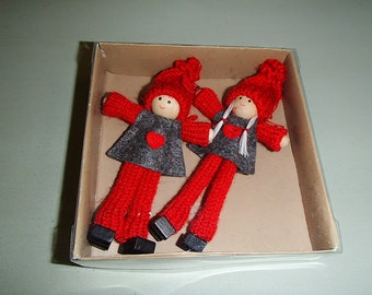 Scandinavian Boy and Girl Tomte Kindness Elf Gnome Ornaments #809