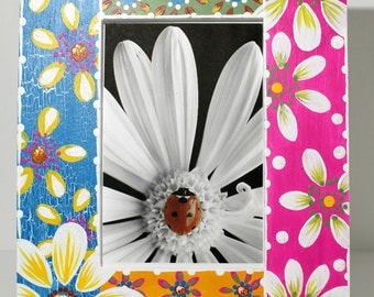 Daisy Hand Painted  BOHO Picture Frame