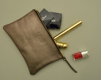 Leather Cosmetic Pouch JUNE BIG Bronze