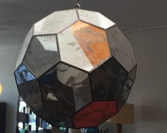 Mid Century Mirrored Hexagon Hanging Lamp
