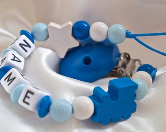 Blue TRAIN *** Personalised Wooden Dummy Chain