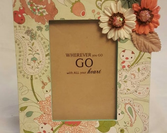 Whimsical creature picture frame/quote display/home decor/wherever you go, go with all your heart