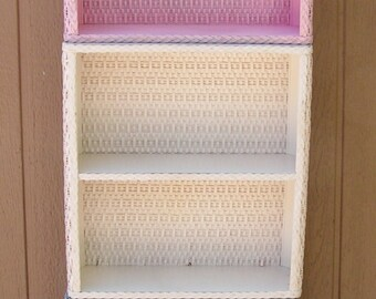 Vintage Wicker and Wood Shelves Shelf Unit Wall Hanging Shelf in your Choice of Pink or Gray