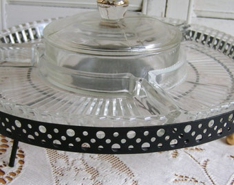 Vintage Retro Kitsch Mid Century Modern Atomic Lazy Susan Glass Metal Turn Table Relish Serving Tray