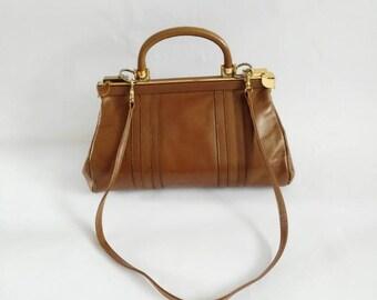 REDUCED Adrian Gold London 1960's vintage handbag 60's vintage leather handbag brown leather 60's handbag detachable shoulder strap handbag