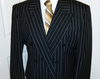 Beautiful Black Pin Striped Double Breasted Suit