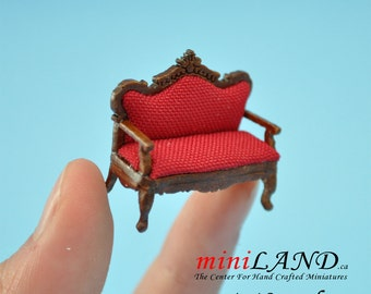 "1:48 1/4""  Victorian red Sofa for living room dollhouse 1/48 Top Quality"