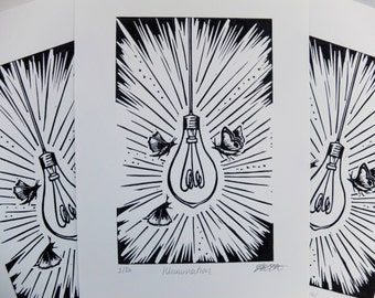 Illumination Original Lino Print