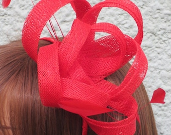 Red fascinator .Wedding,race day,party
